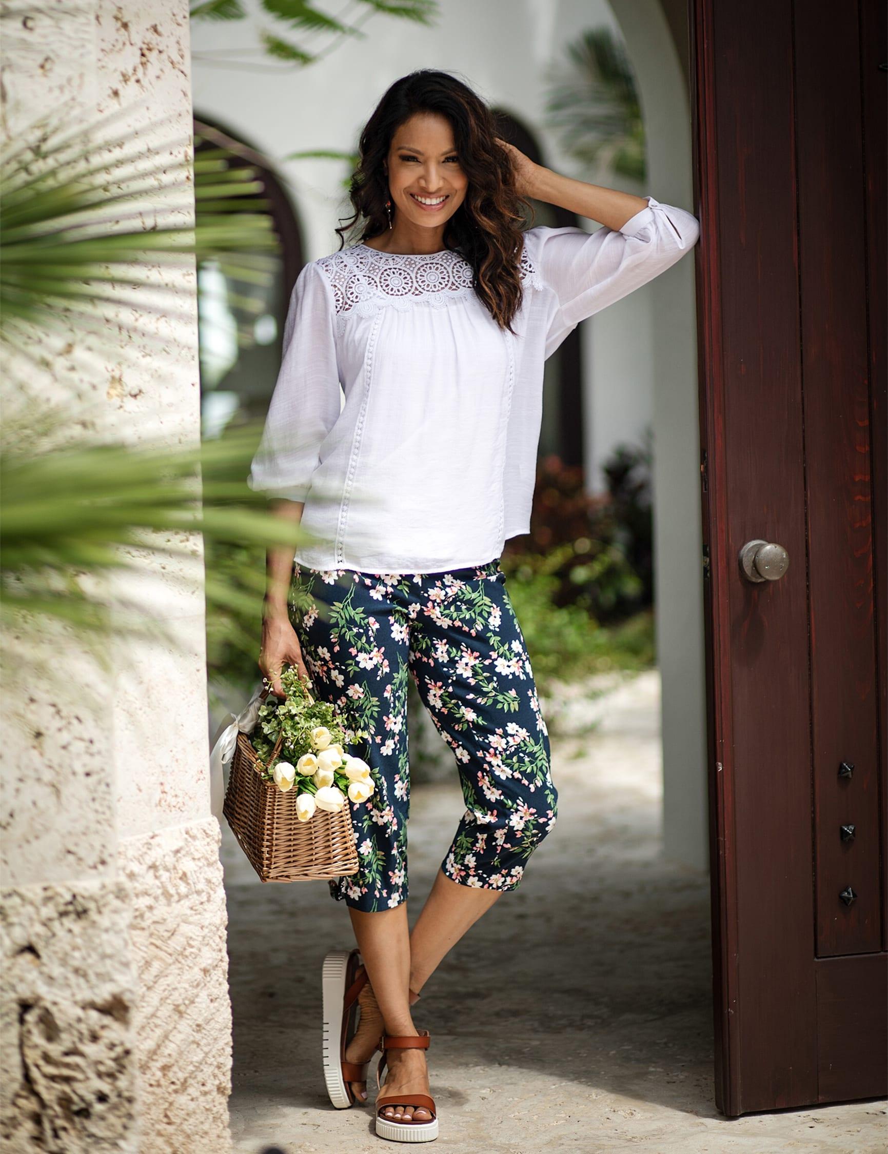 Printed Pull on Pants Tie Hem Capri - Navy Bouquet - Front