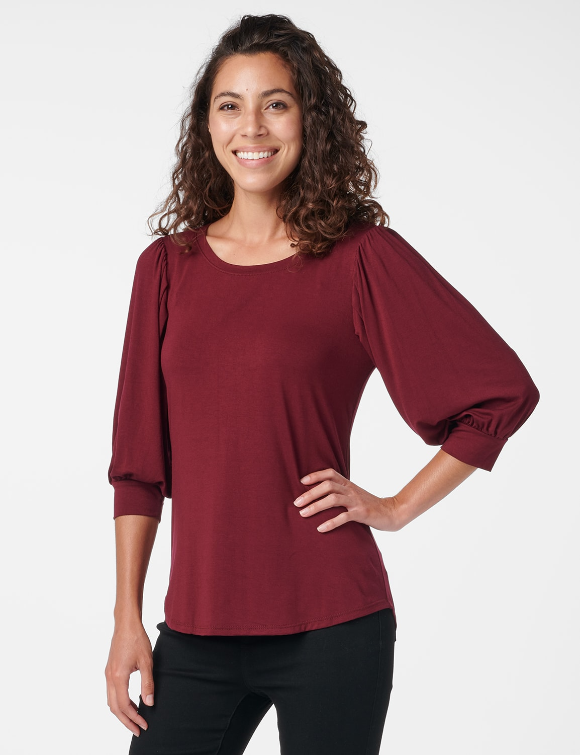3/4 Sleeve Scoop  Puff Sleeve Knit Top - Misses - Wine - Front