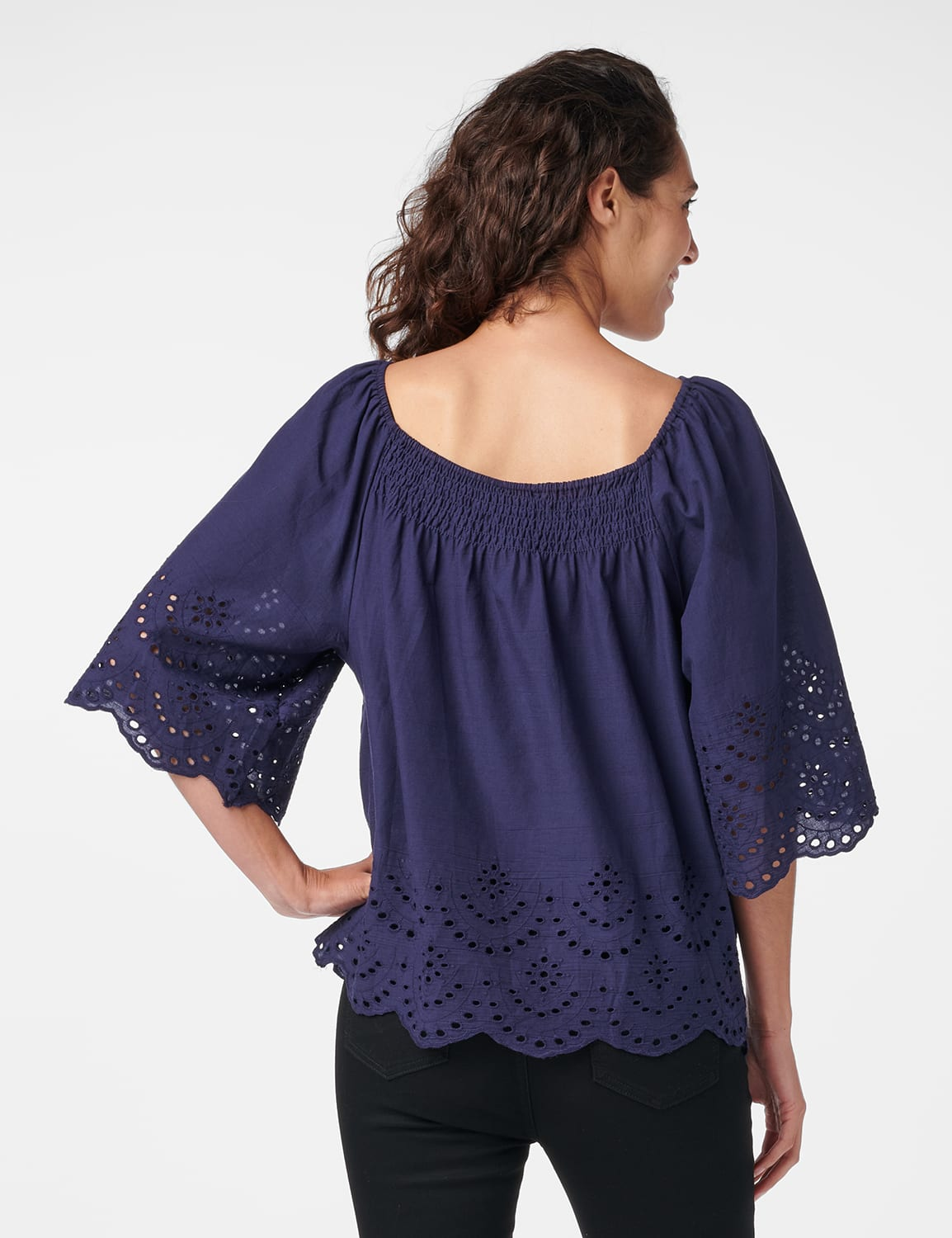 Embroidered Off The Shoulder Woven Top - Navy - Back