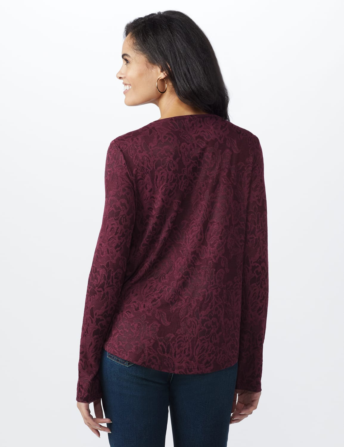 Jacquard Knit Top - Merlot - Back