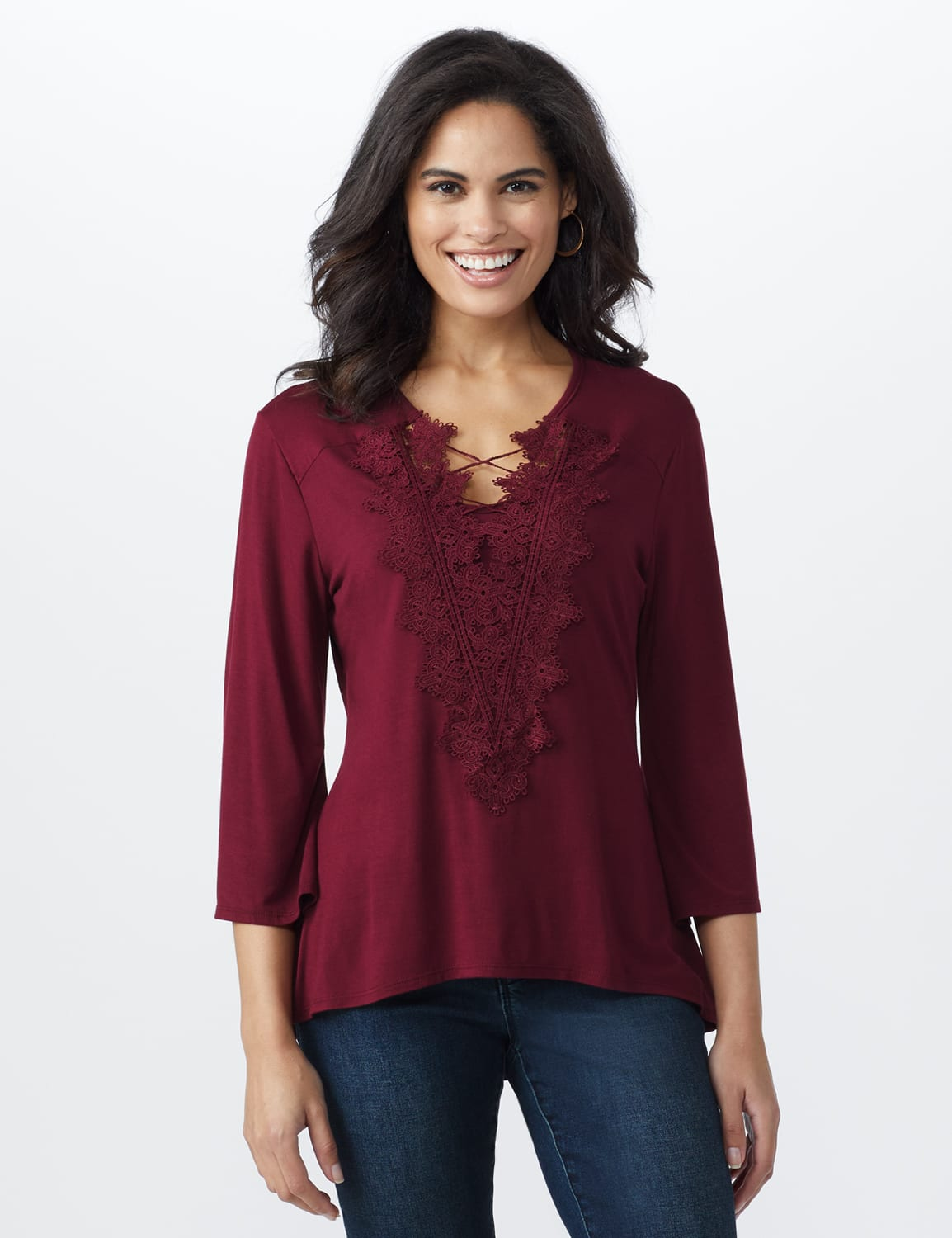 Bell Sleeve Crochet Trim V-Neck Knit Top - Misses - Ruby - Front
