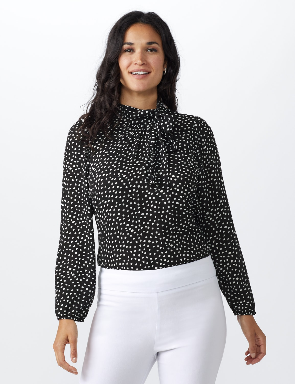 Dot Side Bow Blouse - Black - Front