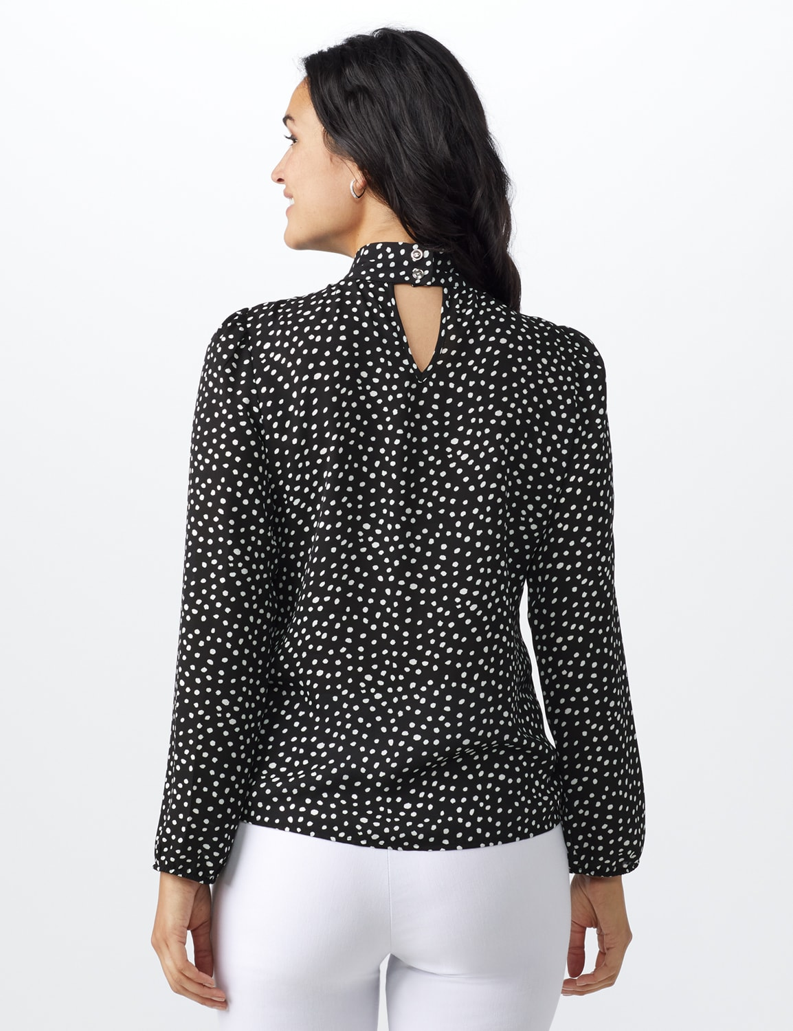 Dot Side Bow Blouse - Black - Back