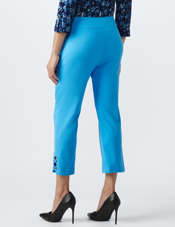 Superstretch Pull On Capri Pant With Criss Cross Rivet Hem Detail - Azure Blue - Back