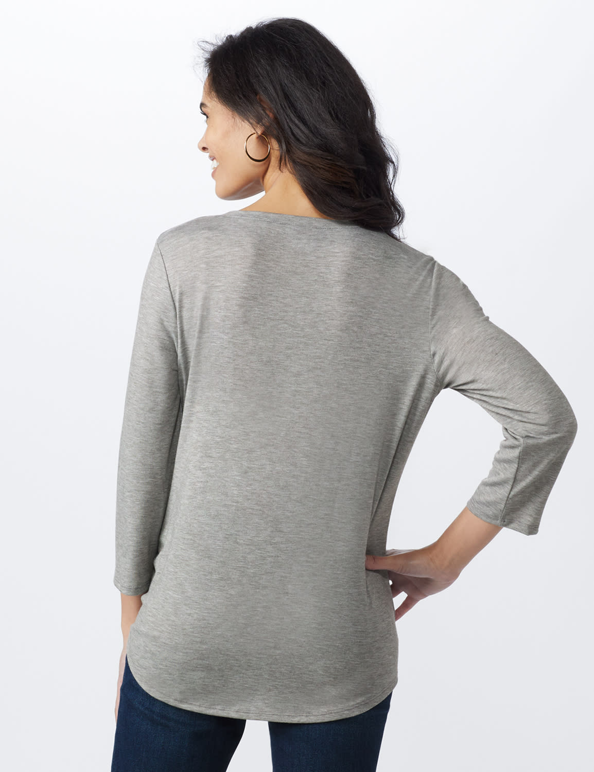 LOVE Matters Tie Front Screen Tee - Heather Grey - Back