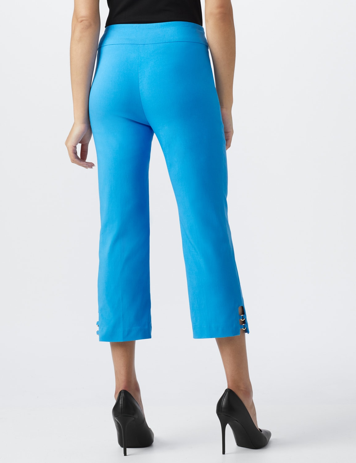 Superstretch Pull On Capri Pant With Tabs And Grommet Trim Hem Detail - Bluebird - Back