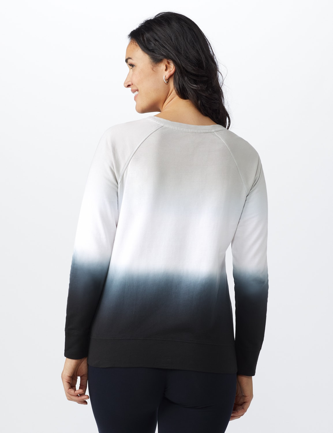 Dip Dye Scoop Neck French Terry Knit Top - Grey/Black - Back