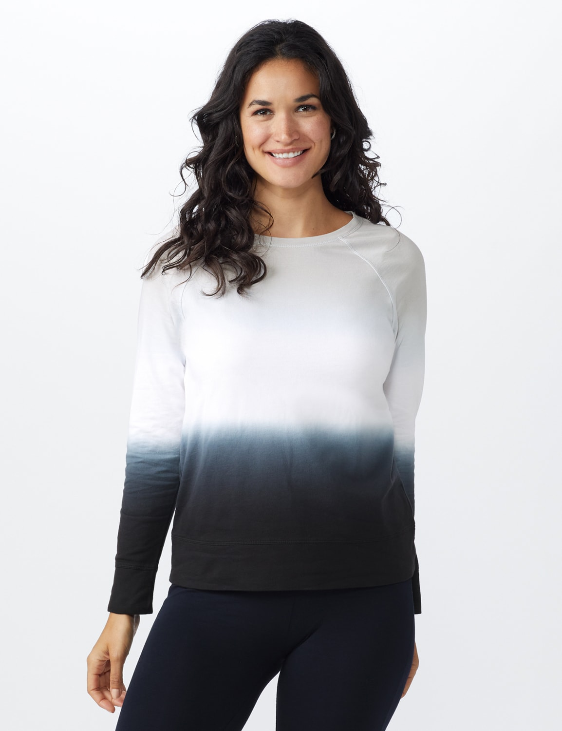 Dip Dye Scoop Neck French Terry Knit Top - Grey/Black - Front