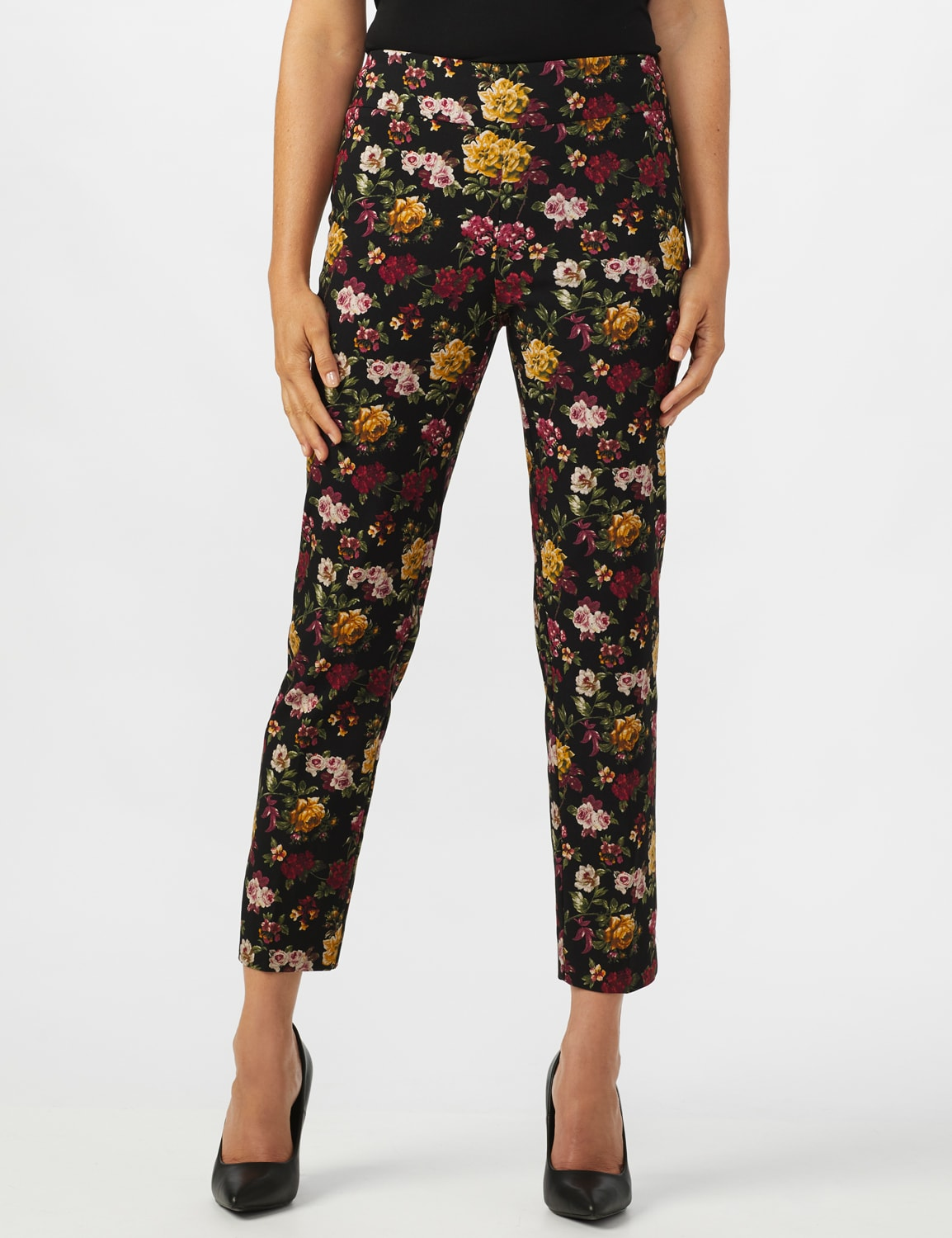 Pull On Floral print Ankle Pants - Black/Wine - Front
