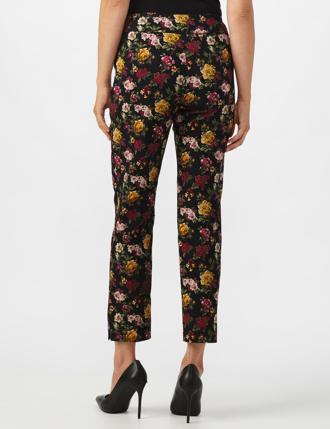 Pull On Floral print Ankle Pants - Black/Wine - Back