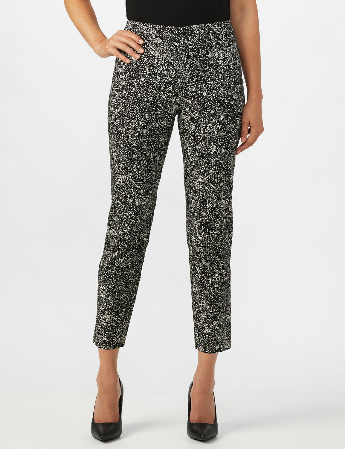 Roz & Ali Paisley Print Superstretch Pull On Ankle Pants With Slits - Black Pattern - Front