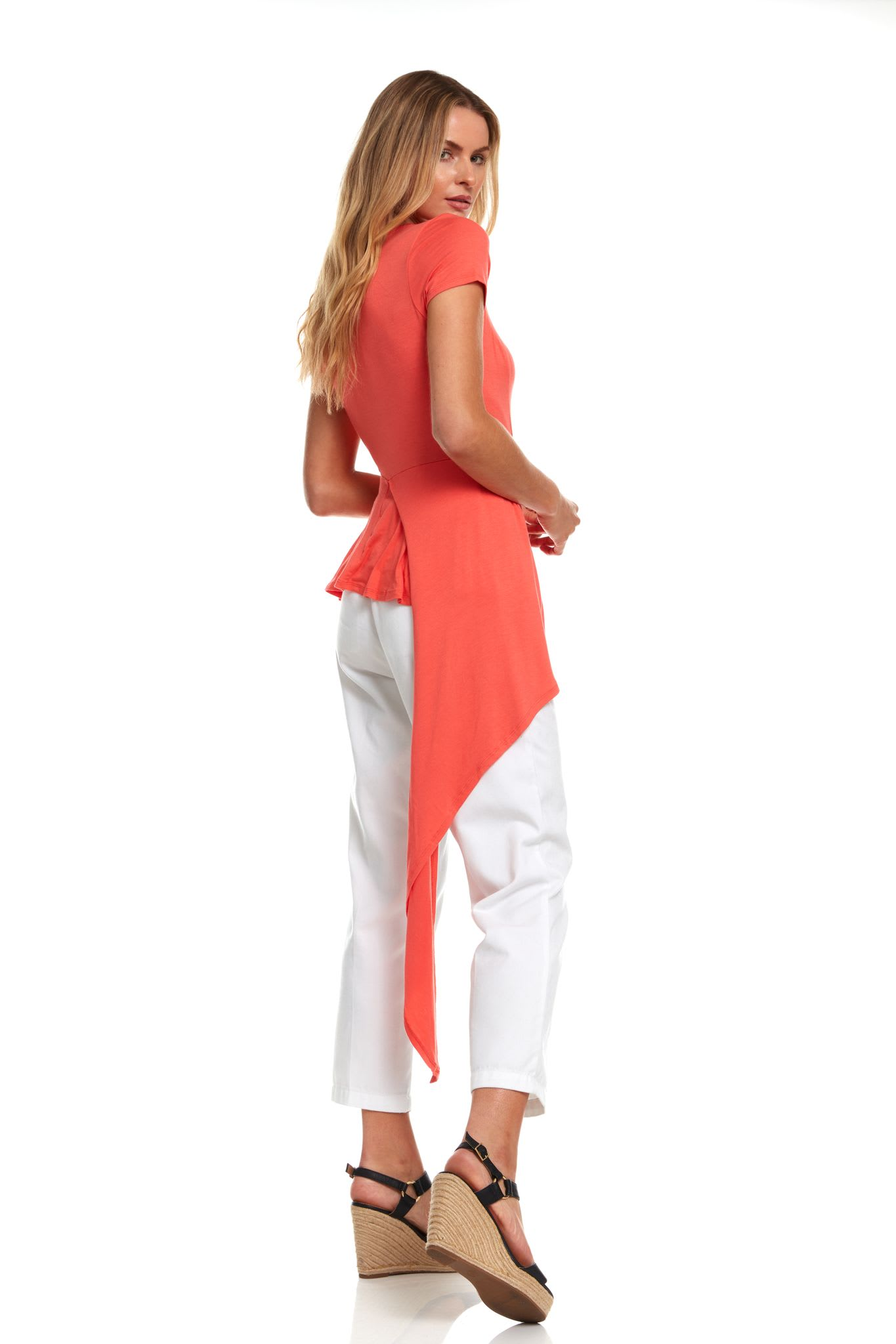 Flutter Hi-Low Scoop Neck Knit Tee - Coral - Back