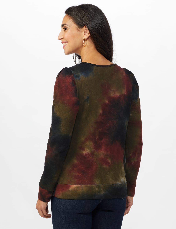 Tie Dye Puff Sleeve Sweatshirt - Misses - Black/brown - Back