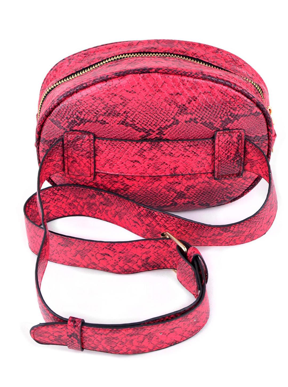 Red Snake Skin Belt Bag - Red - Back