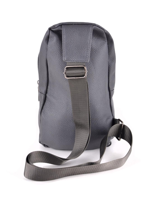 Synthetic Leather Crossbody Sling Shoulder Bag - Gray - Back