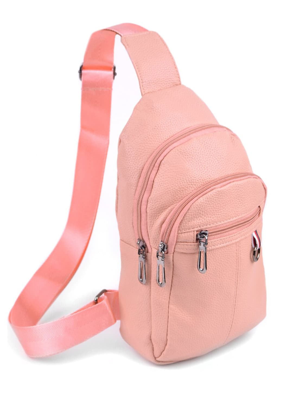 Synthetic Leather Crossbody Sling Shoulder Bag - Rose - Back