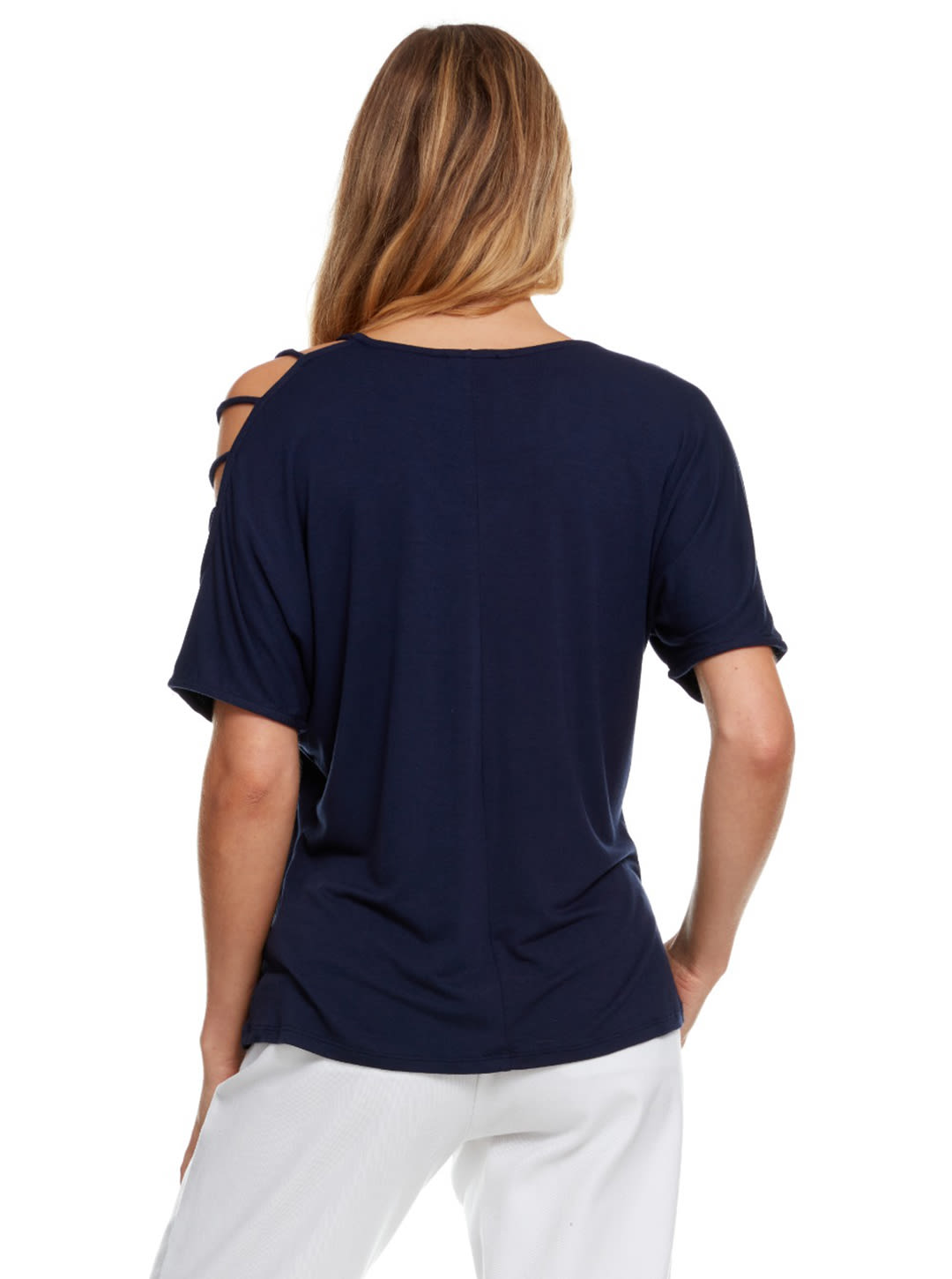 Strappy Single Cold Shoulder Top - Navy - Back
