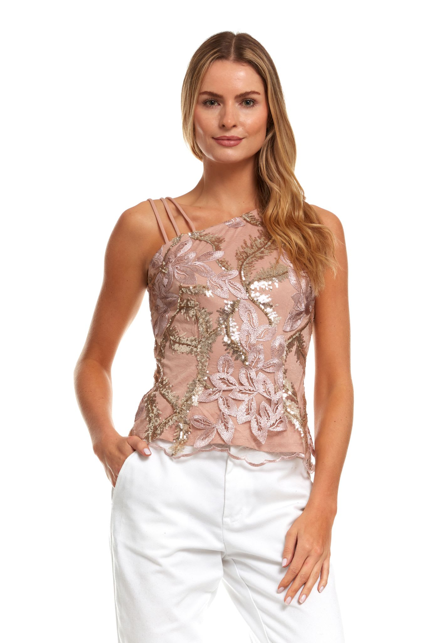 Embroidered Floral Strappy Top - Multi - Detail