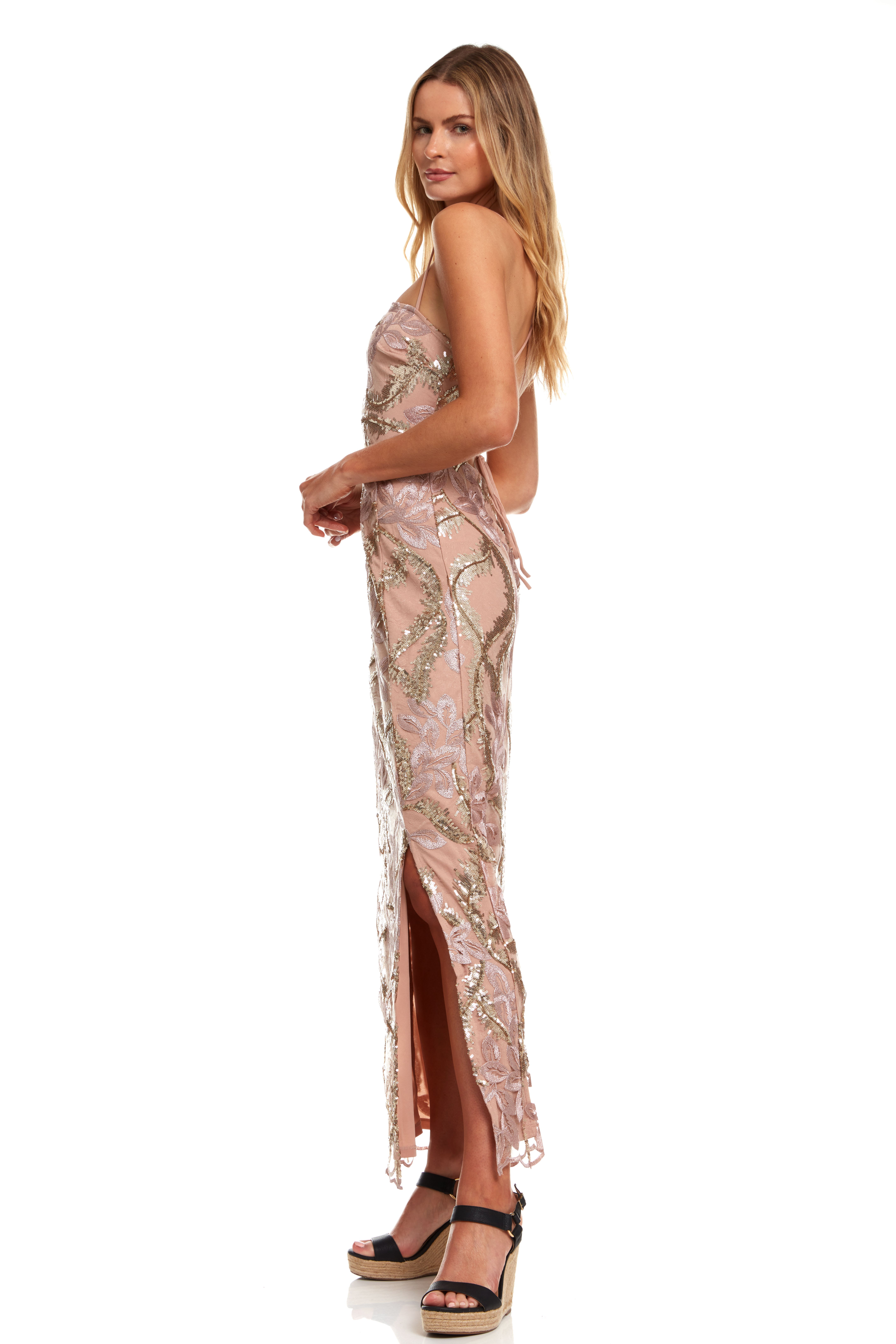 Embroidered Floral Maxi dress with Slit - Multi - Detail