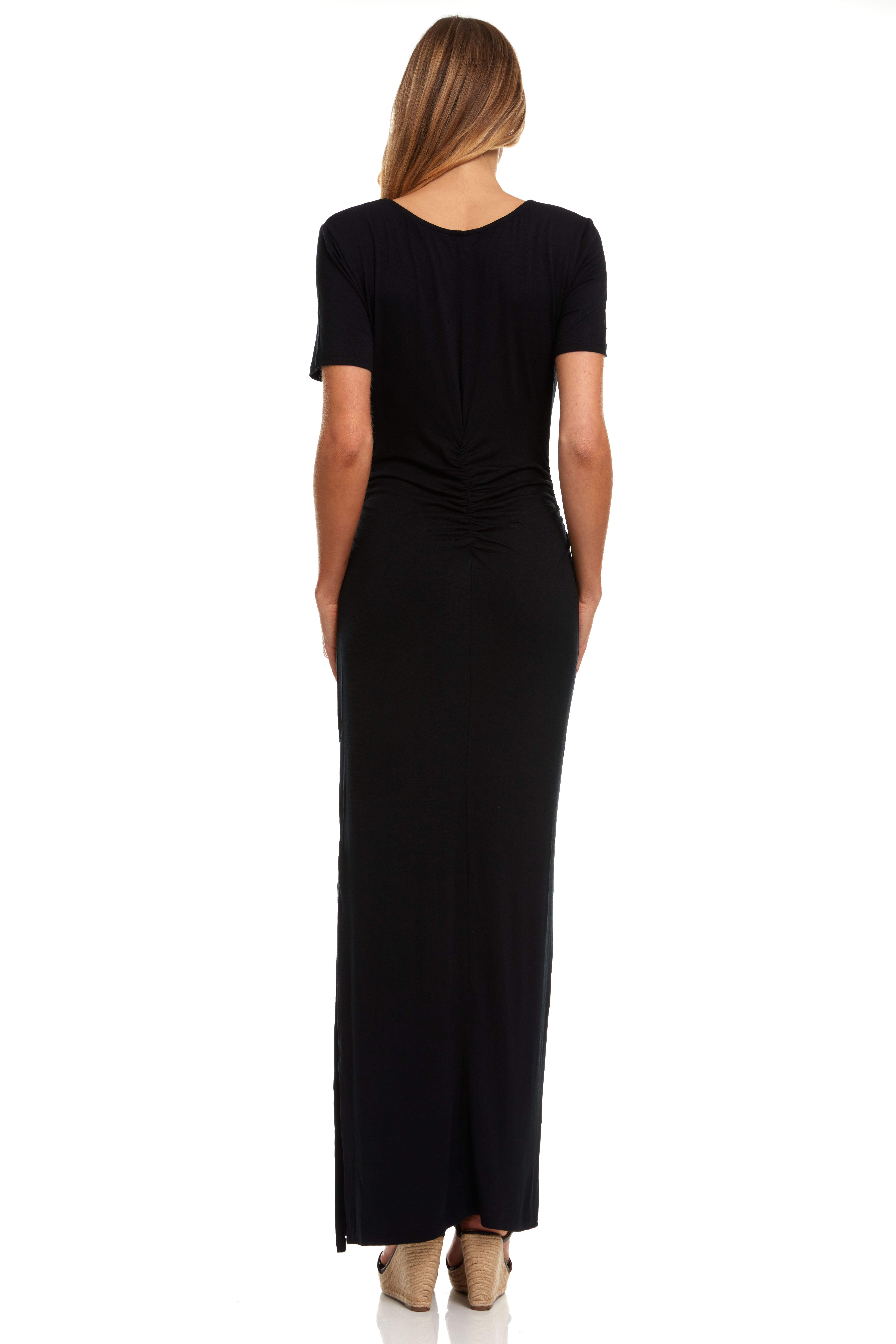 Rouched Side Maxi Dress with Criss-Cross Detail - Black - Back