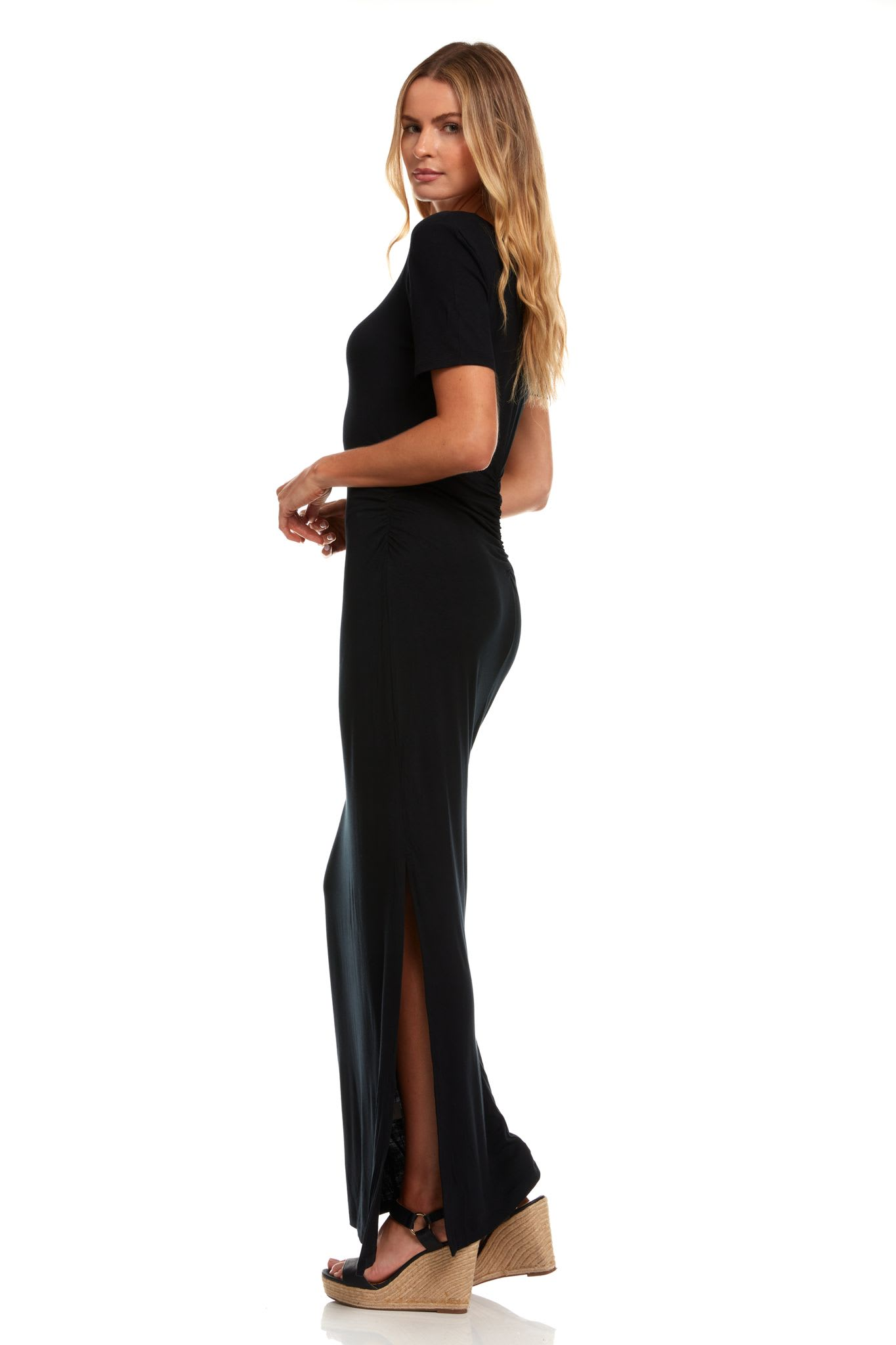 Rouched Side Maxi Dress with Criss-Cross Detail - Black - Detail