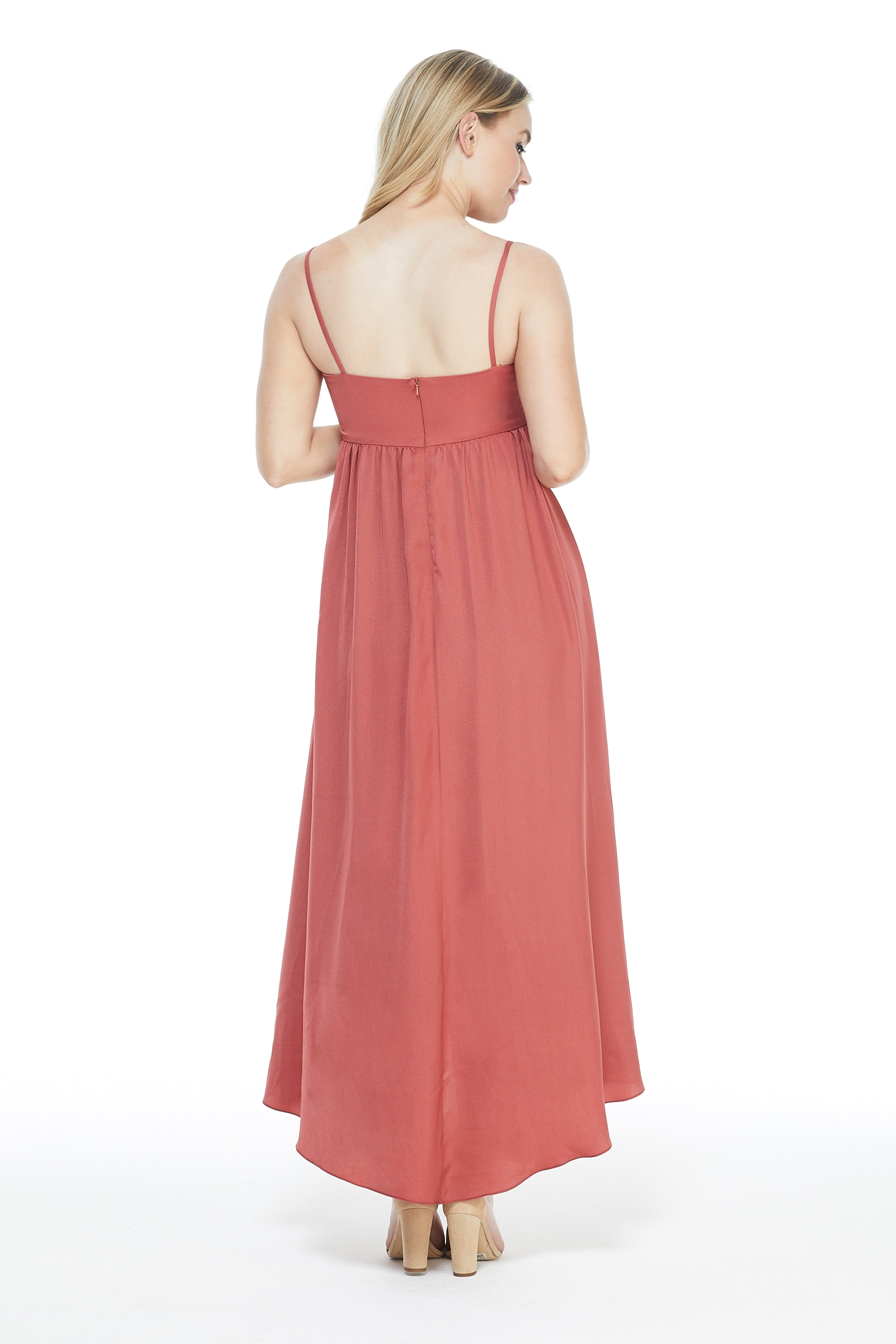 Knot Tie Midi Dress - Rust - Back