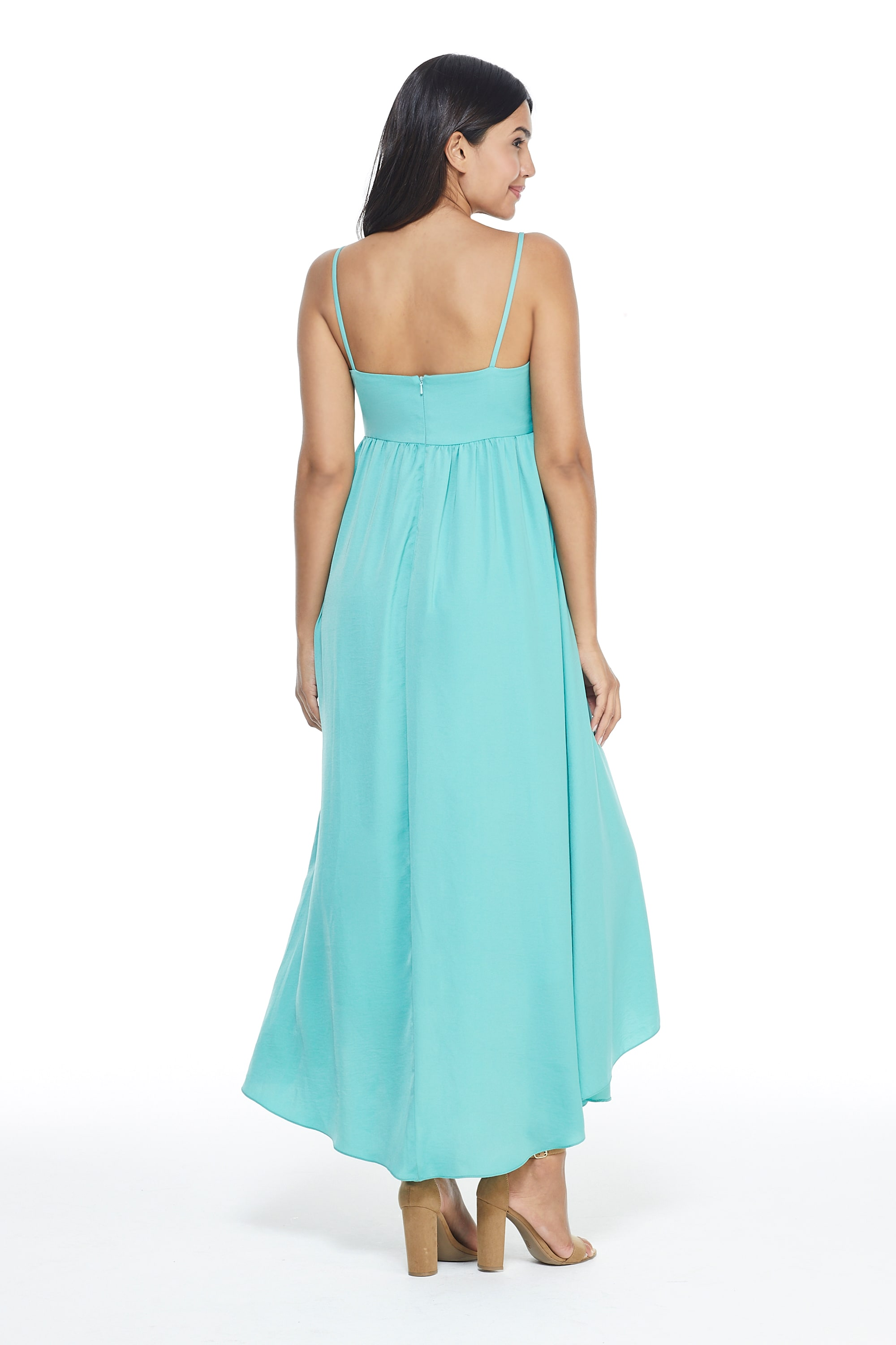 Knot Tie Midi Dress - Teal - Back