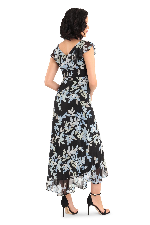 Wrap Ruffle Fern Dress - blue/black - Back