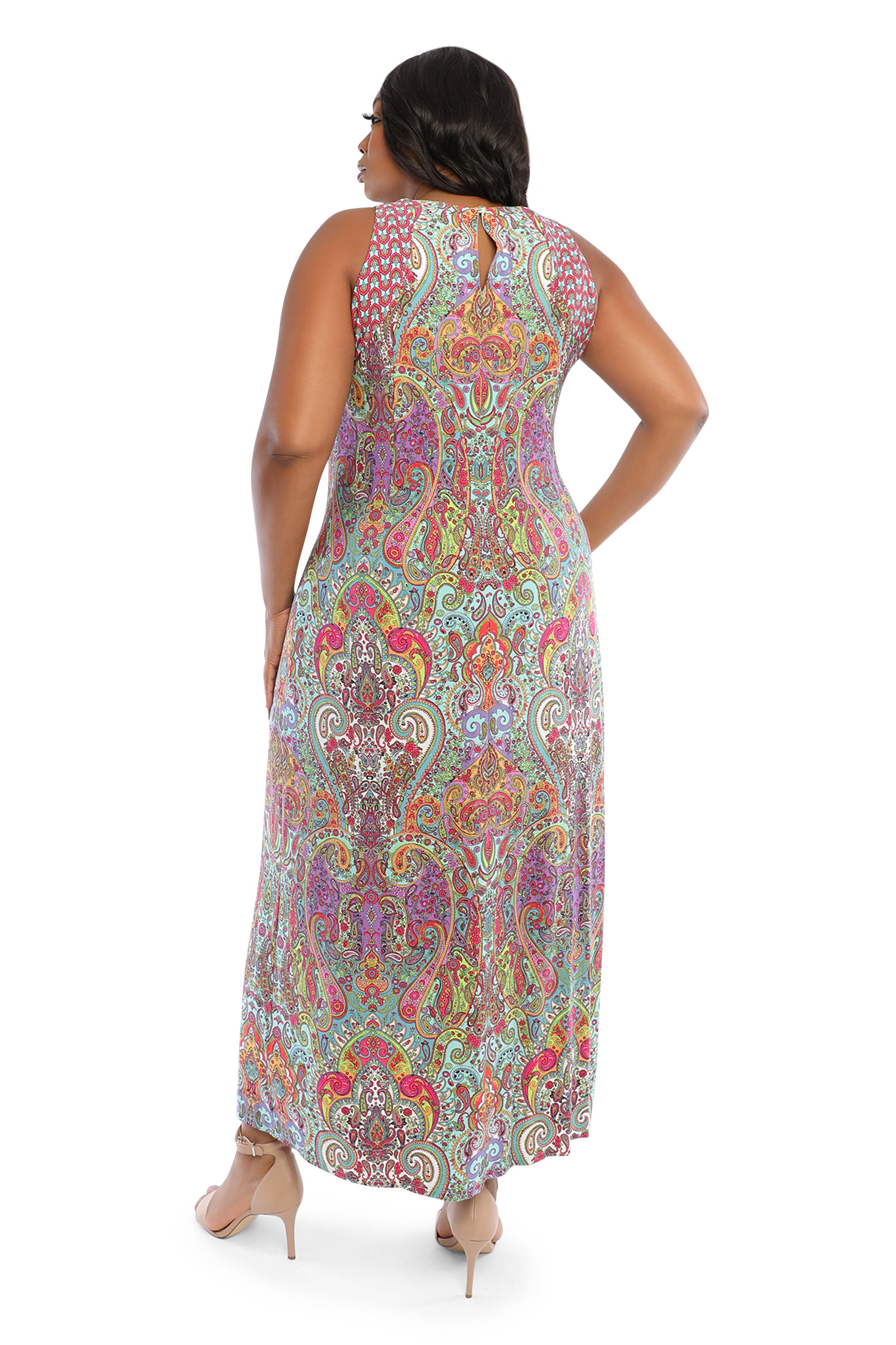 Scroll Maxi Slit Dress - Multi - Back
