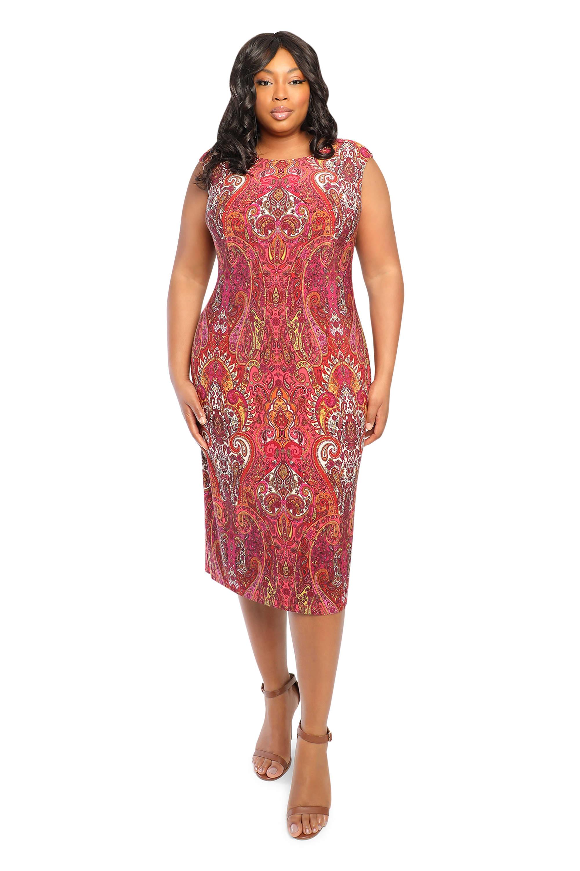 Scroll Sheath Dress - Plus - Red Multi - Front