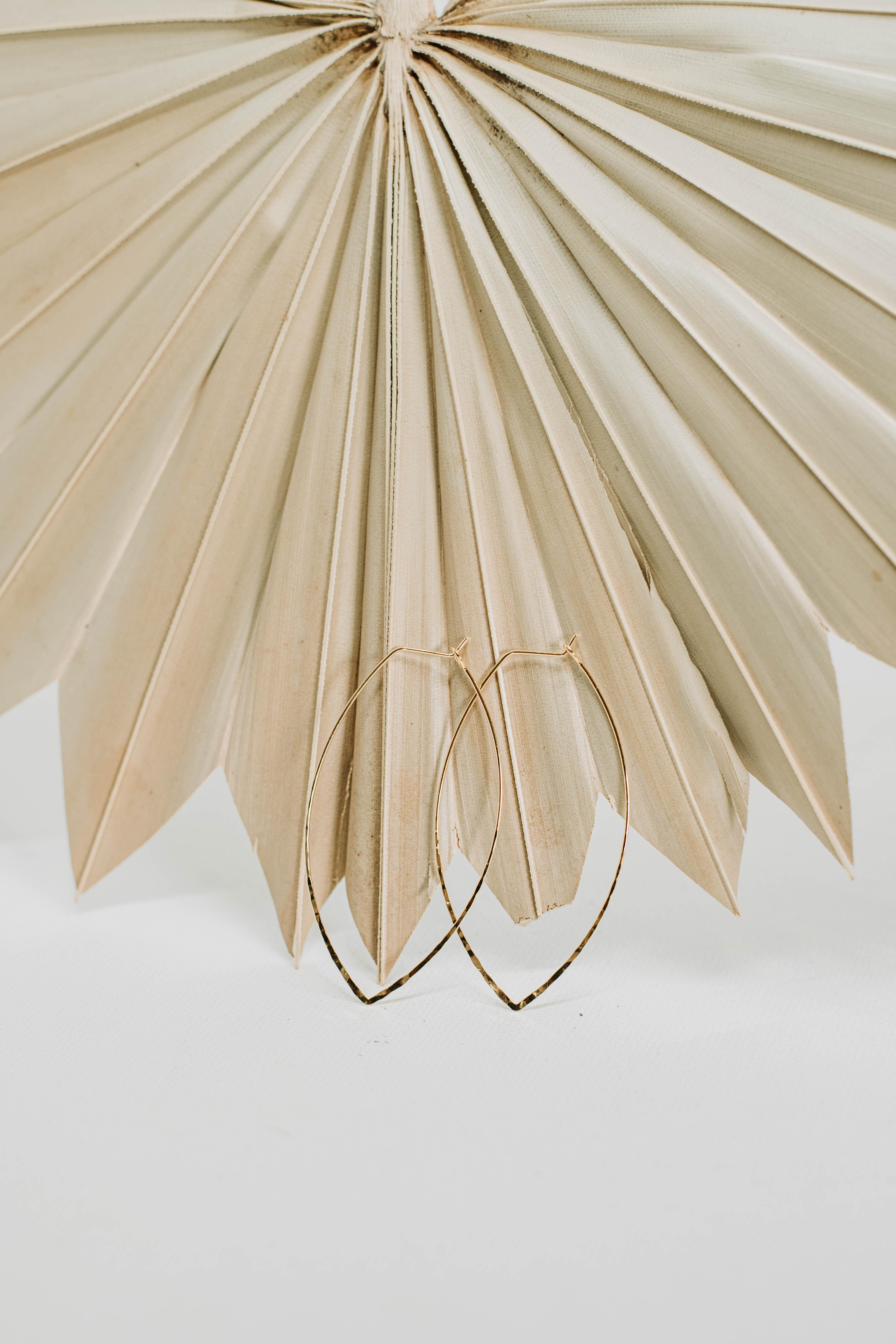 Ivey Gold Plated Hammered Hoop - Gold - Back