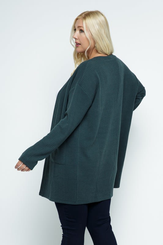 Waffle Knit Snuggle Cardigan with Pockets - Plus - Hunter Green - Back
