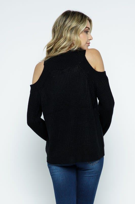 Cold Shoulder Knit Mock Neck Pullover - Black - Back