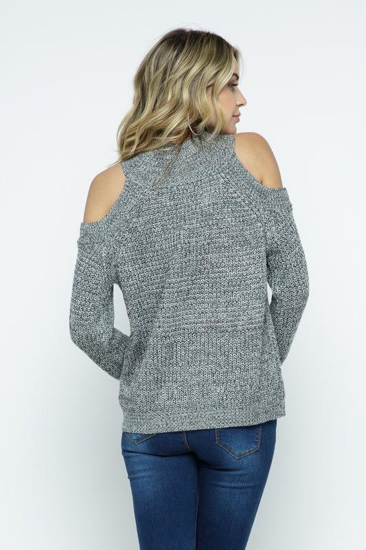 Cold Shoulder Knit Mock Neck Pullover - Charcoal - Back