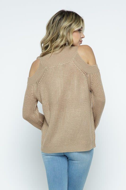 Cold Shoulder Knit Mock Neck Pullover - Coco - Back