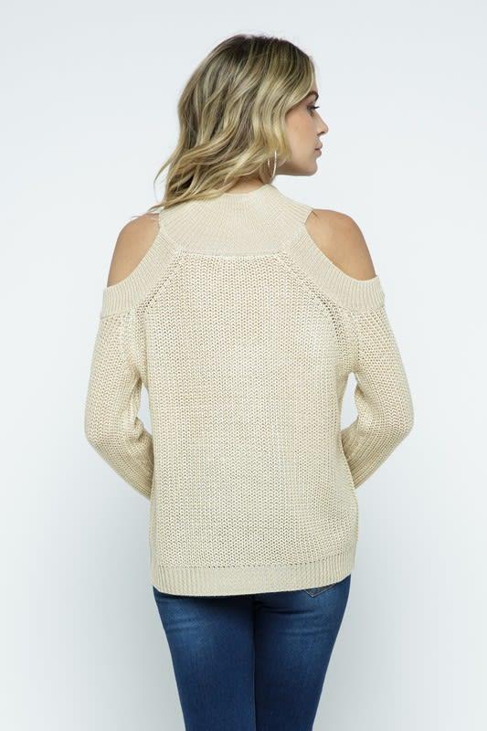 Cold Shoulder Knit Mock Neck Pullover - Ivory - Back