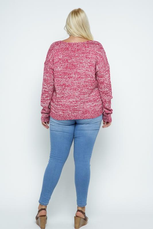 Soft Yarn Two Tone V-Neck Pullover - Plus - Fuchsia - Back