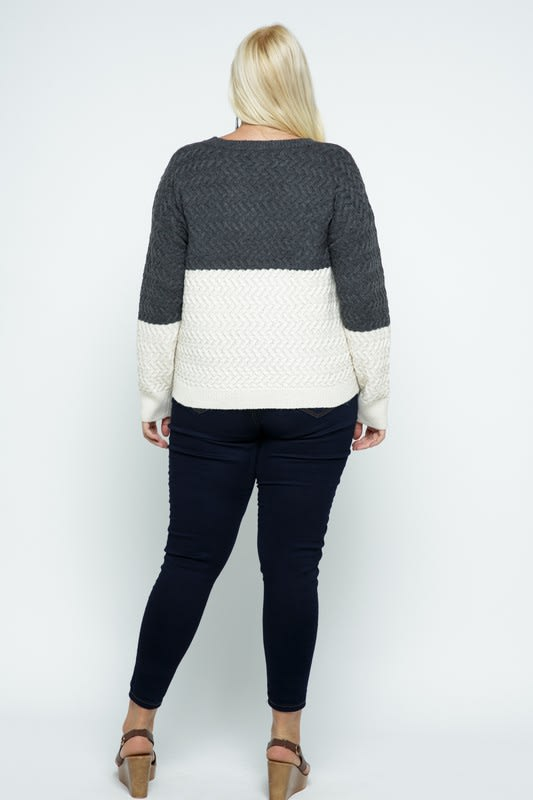 Color Block Cable Knit Pullover - Plus - Charcoal - Back