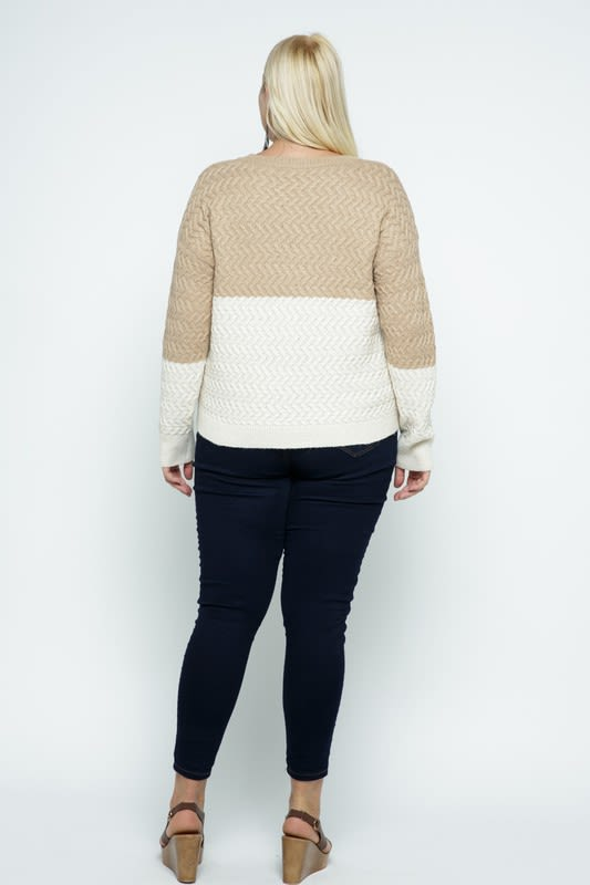 Color Block Cable Knit Pullover - Plus - Coco - Back