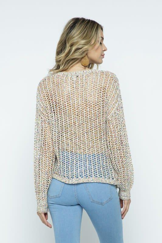 Multi-Color Open Knit Pullover - Multi - Back