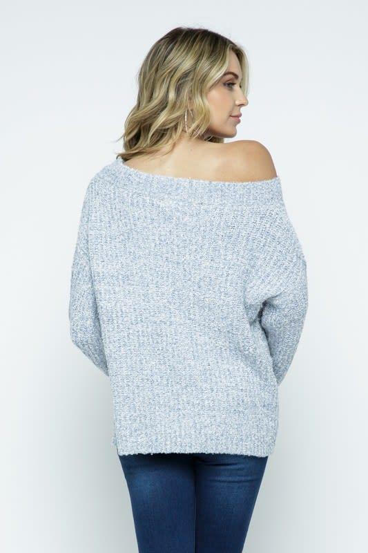 Melange Off Shoulder Pullover Sweater - Icy Grey - Back