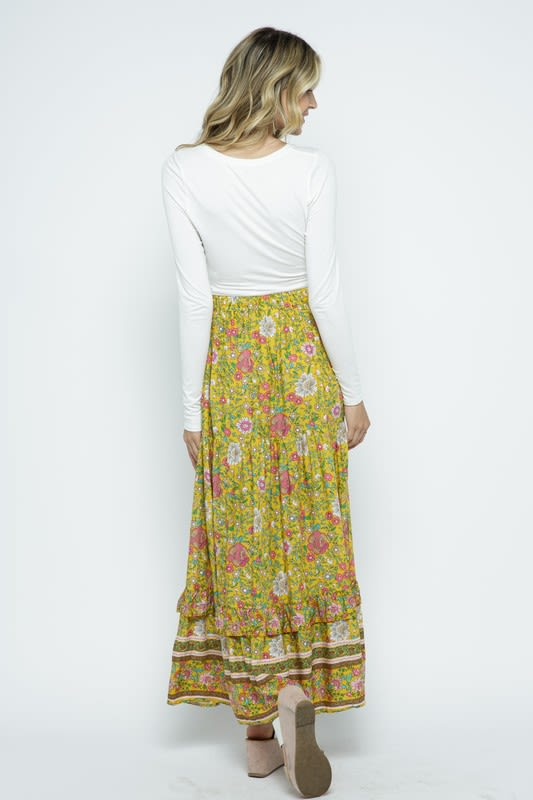 Boho Floral Maxi Skirt with Ruffle - Yellow - Back