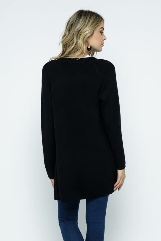 Fine Knit Open Front Draped Cardigan - Black - Back