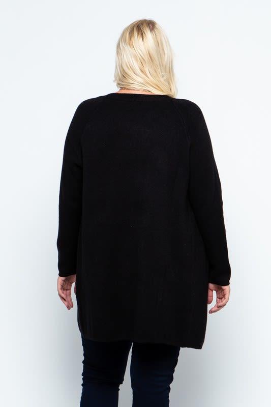 Fine Knit Open Front Draped Cardigan - Plus - Black - Back