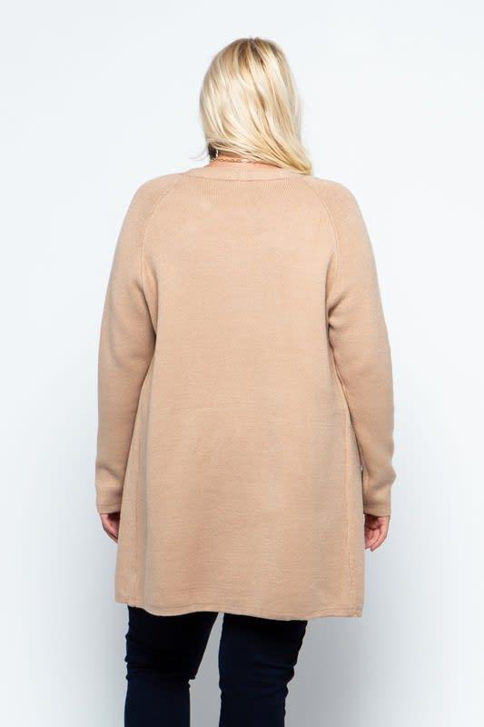 Fine Knit Open Front Draped Cardigan - Plus - Coco - Back