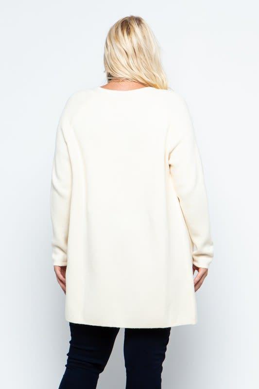 Fine Knit Open Front Draped Cardigan - Plus - Cream - Back