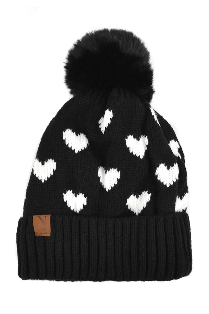 Hearts & Pom Pom Winter Hat - Black - Back