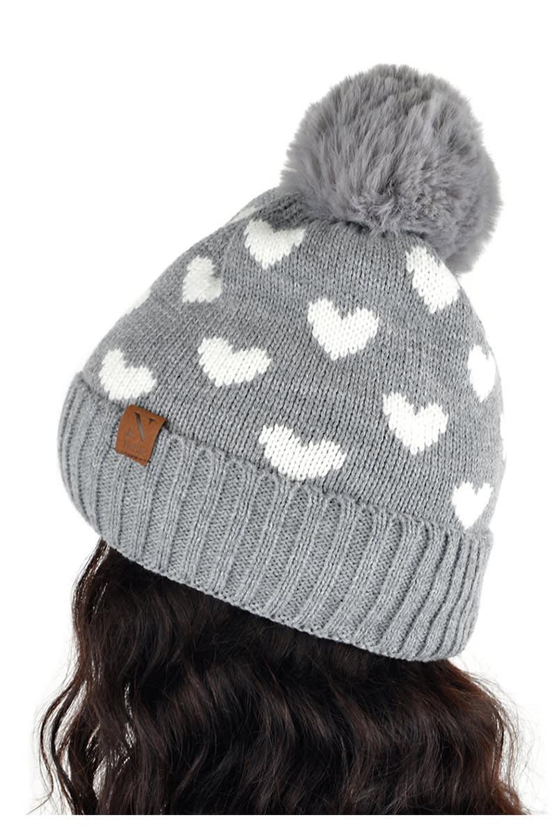 Hearts & Pom Pom Winter Hat - Grey - Back