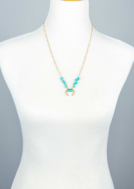 Natural Stone and Horn Pendant Necklace - Turquoise - Back
