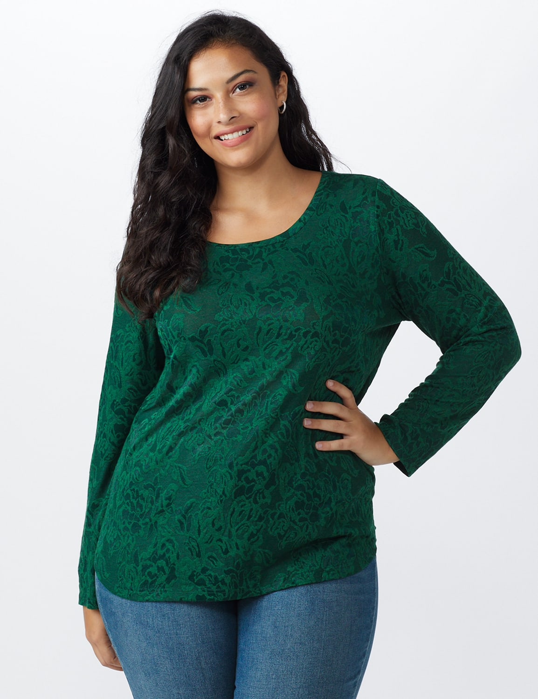 Jacquard Knit Top - Plus - Forest - Front